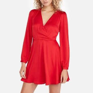 LONG SLEEVE SURPLICE FIT AND FLARE DRESS IN RED